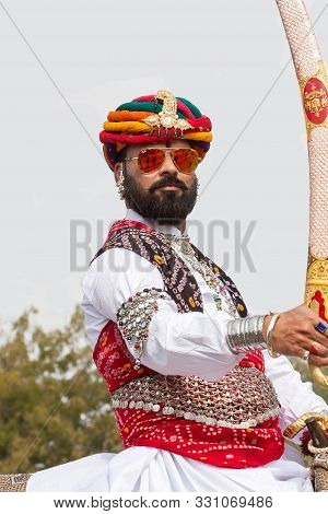 Bikaner, India - January 12, 2019: Indian Rajasthani Men With Long Mustache In Traditional Clothes R