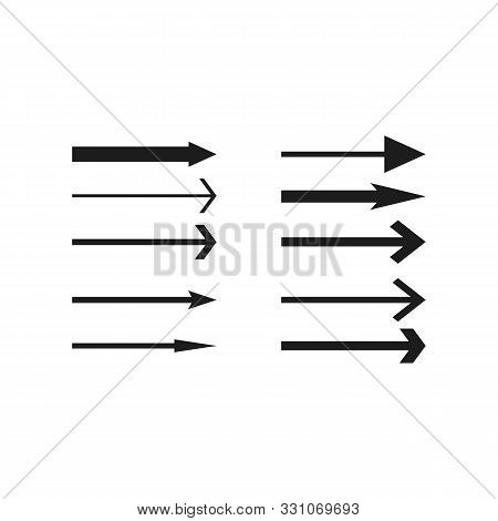 Arrows Collection. Black Arrow Direction Signs Forward And Down For Navigation Or Web Download Butto