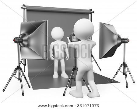 3d White People Illustration.  Photographer Working In His Studio With A Model. Isolated White Backg