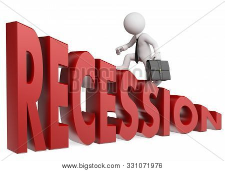 3d White People Illustration. Businessman Climbing Up The Word Recession. Metaphor. Isolated White B