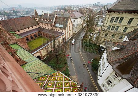 Basel, Switzerland - March 02, 2009: View To The Basel City From Munster Tower On A Rainy Day In Bas