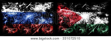 Russia, Russian Vs Jordan, Jordanian New Year Celebration Sparkling Fireworks Flags Concept Backgrou