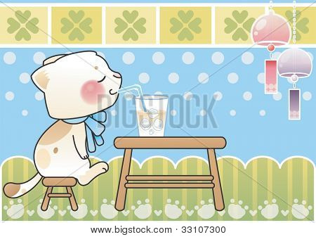 Happy Summer Vacation - enjoy relaxed lifestyle with sweet ice cocoa on a background of blue dot patterns