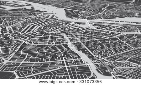 Aerial View City Map Amsterdam, Monochrome Detailed Plan Streets And Canals, Urban Grid In Perspecti