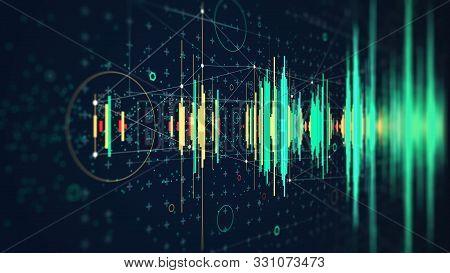 Hi-tech Digital Technology Frequency Wave Diagram Concept, Futuristic Hud Visualizing Complex Data,
