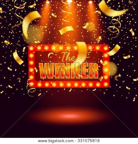 Winner Banner, Falling Ribbons Winner. Winners Lottery Game Jackpot Prize Logo Vector Background Ill