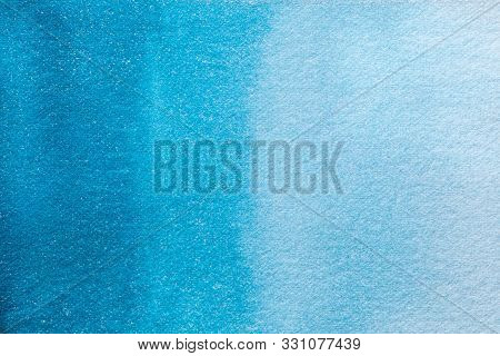 Abstract Art Background Light Turquoise And Navy Blue Colors. Watercolor Painting On Canvas With Sof
