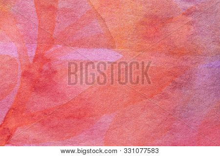 Abstract Art Background Dark Red And Pink Colors. Watercolor Painting On Canvas With Soft Coral Grad