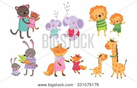 Animal Cubs And Their Parents Childish Vector Illustrations