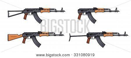 Kalashnikov Rifle. Firearms. Colorful Image Set Of Kalashnikov Assault Rifle Ak-47, Akm, Akc, Akmc,