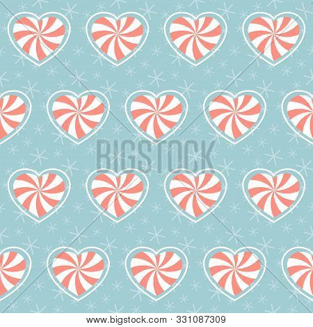 Christmas Pattern. Seamless Vector Illustration With Heart-shaped Candies