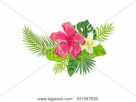 Tropical Exotic Leaves, Hibiscus, Plumeria Flowers, Vector Illustration Isolated On White Background