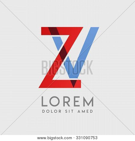 Zv Logo Letters With Blue And Red Gradation