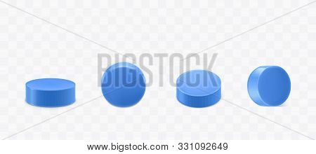 Plastic Bottle Caps Set Isolated On Transparent Background. Blue Round Corrugated Lids Design For Mi