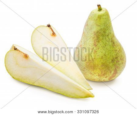 Green Pears Whole And Cut In Half (segments), Freshly Picked From The Tree (variety Conference, Pyru