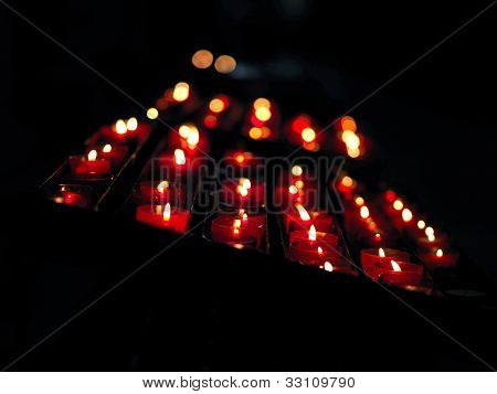 Candle, Group Of Burning Candles On Black Background.