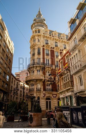 Cartagena, Valenciana, Spain - Oct 24 2019 : Streets Of Cartagena With Tourists And Locals.