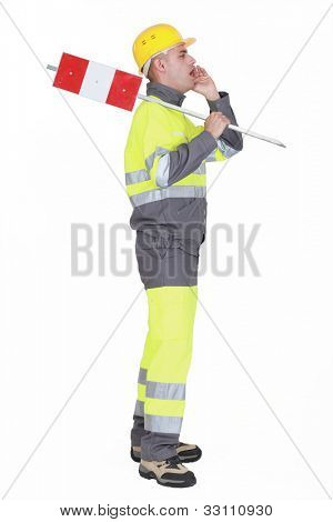 Construction worker screaming isolated on white background