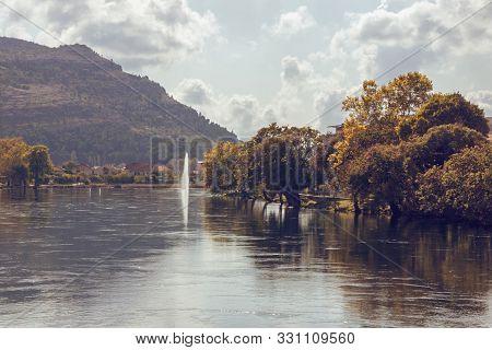 Autumn Landscape. View Of Trebisnjica River On Sunny Day. Bosnia And Herzegovina, Republika Srpska,