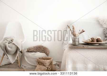 Modern Interior With Home Items . Coziness And Comfort At Home .