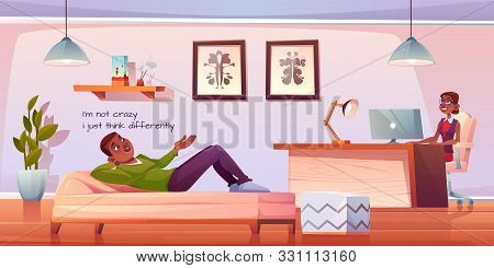 Patient In Psychologist, Psychotherapist Office. Man Lying On Couch Talking To Woman Practitioner Si