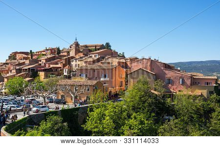 Panoramic View Of Medieval Village Of Roussillon. It Ochre Village Is Included In List Of