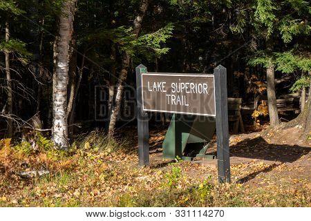 Lake Superior Hiking Trail Sign For The Trailhead