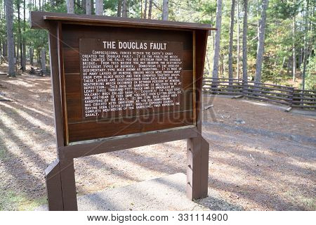 Douglas County, Wisconsin - October 18, 2019: Sign For The Douglas Fault, A Faultline That Created T