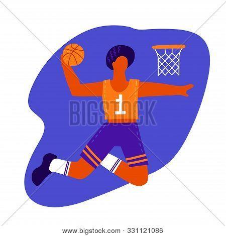 Male Basketball Player With Ball. Basketball Player Doing Slam Dunk. Creative Hand Drawn Flat Vector
