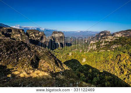 View Of Meteora Landscape - Thessaly, Greece, Europe