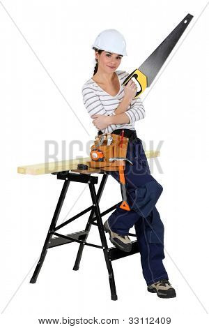 handywoman with a saw