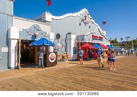 Santa Monica, California, Usa - April 10, 2019: Santa Monica Pier In Santa Monica, California - A Po