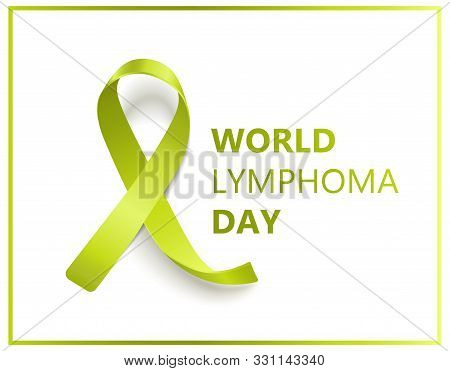 World lymphoma day isolated banner with green ribbon symbol and text poster