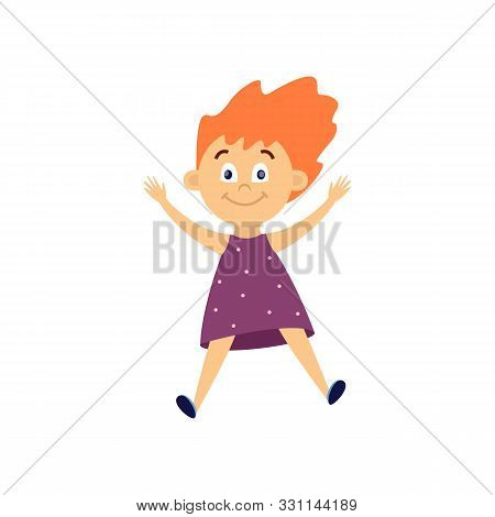 Cute Little Girl Jumping In Air - Cartoon Child With Happy Face Mid Jump