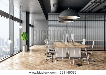 Clean Coworking Office Interior