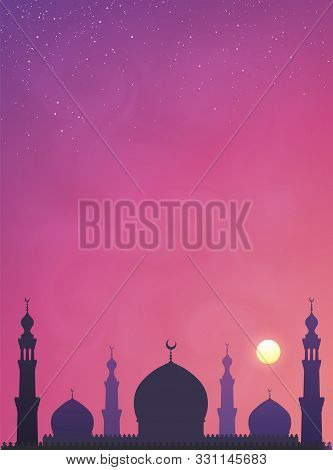 Dark Violet Mosque Silhouette On Pink Smoky Sunset Sky Background. Vector Banner Illustration With S