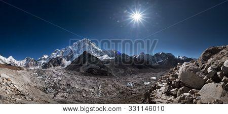 Nuptse Or Nubtse Mountain 7861M Panorama Shot With Khumbu Glacier On The Foreground, Gorakshep. Khum