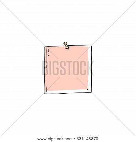 Pink Square Paper Piece Stuck On Wall With Needle Pin
