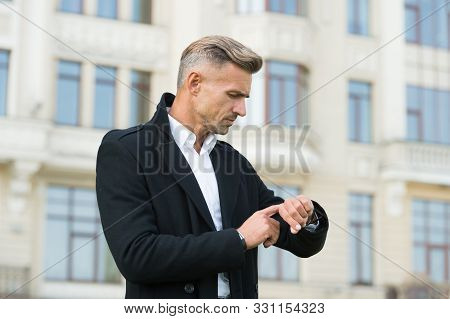 Professional Watch Ideal For Leading Business Lifestyle. Businessman Check Time By Watch. Handsome M