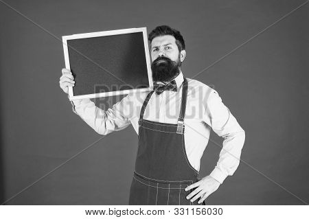 Hipster Restaurant Staff. Hipster Informing You. Man Bearded Bartender Or Cook In Apron Hold Blank C