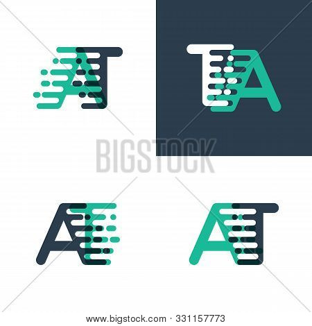 At Letters Logo With Accent Speed In Tosca Green And Dark Blue
