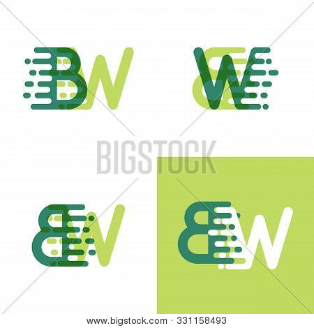 Bw Letters Logo With Accent Speed In Light Green And Dark Green