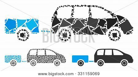 Car Trailer Mosaic Of Bumpy Pieces In Various Sizes And Shades, Based On Car Trailer Icon. Vector Bu