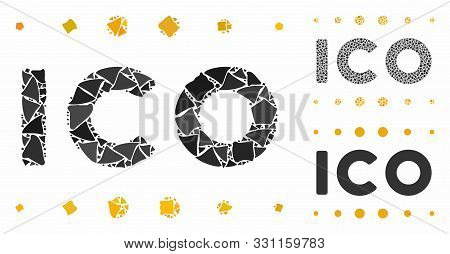 Ico Caption Mosaic Of Rugged Parts In Variable Sizes And Color Tinges, Based On Ico Caption Icon. Ve