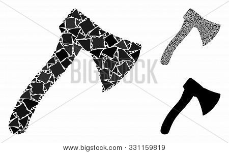 Hatchet Composition Of Trembly Parts In Various Sizes And Shades, Based On Hatchet Icon. Vector Trem