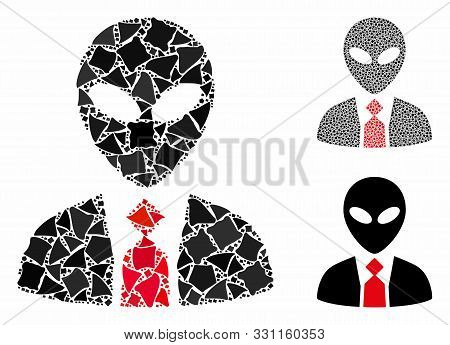 Alien Boss Composition Of Rough Pieces In Various Sizes And Color Tints, Based On Alien Boss Icon. V