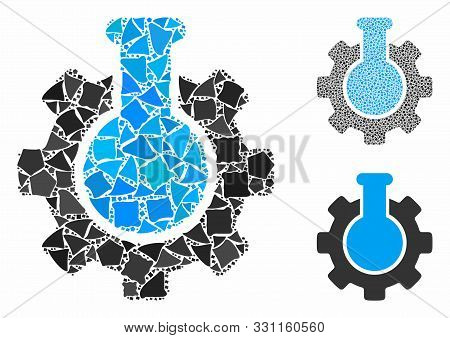 Chemical Industry Mosaic Of Bumpy Elements In Variable Sizes And Color Tints, Based On Chemical Indu