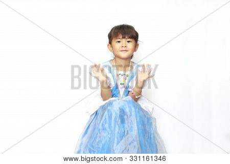 Sitting Japanese Girl In A Dress (4 Years Old)
