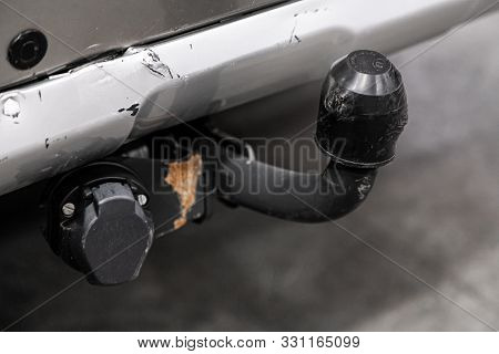 Novosibirsk, Russia - September 29, 2019:  Subaru Outback , Close Up If The Car Tow Hitch