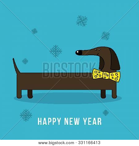 Vector Happy New Year 2018 Design Element With Cute Dachshund Dog. Chinese Year Of Dog Concept Illus